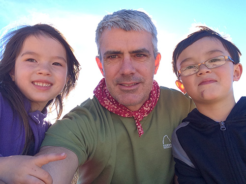 My grandchildren Emi and Enzo pose with George Clooney (a/k/a/ their dad, Ralph)